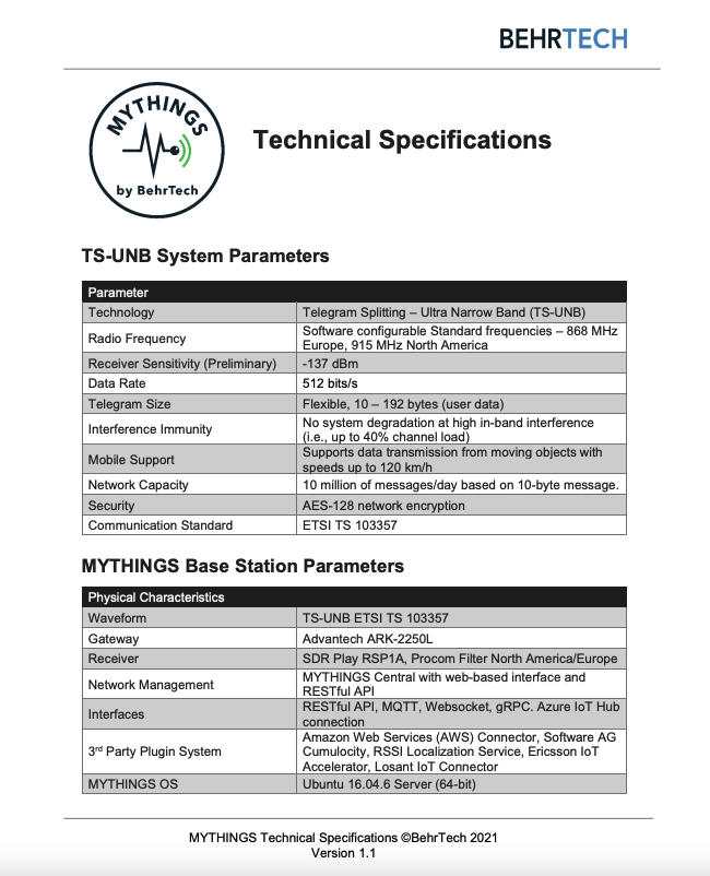 MYTHINGS Technical Specifications